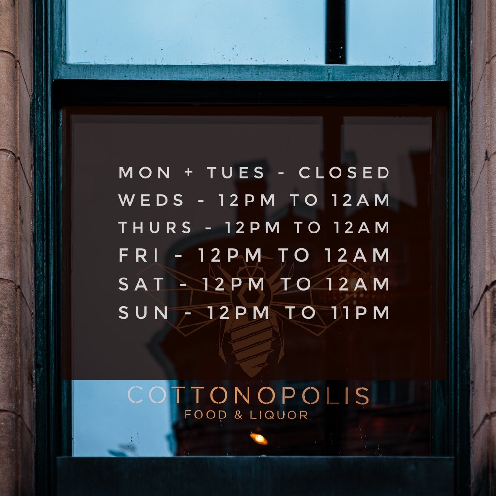 Just a head up on our opening times this week✨   Book your tables in advance via https://t.co/GbqoNFSK3O ❤️   #cottonon #manchester #buzzingtobeback #citybacktolife https://t.co/Uv0wQo18zj