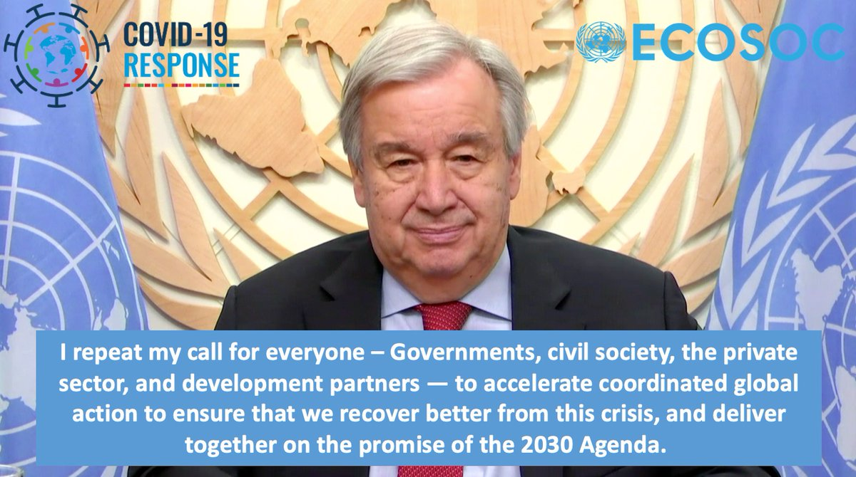 The Integration segment, with its focus on integrating all the dimensions of sustainable development, can play a key role in ensuring that the response to #COVID19 stays true to the promise of the #2030Agenda, said #UNSG @antonioguterres to @UNECOSOC bit.ly/2BJS2rc