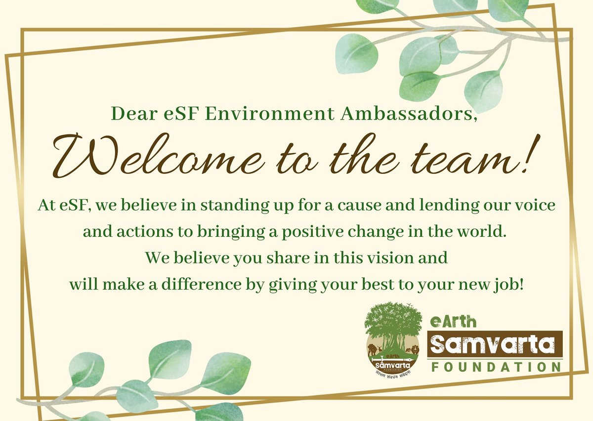We are excited about the new additions to the eSF family! Welcome all eSF Environment Ambassadors.  Let's all work together for a better tomorrow and ensure that we bring forth the ideals of sustainability and an equitable, non-anthropocentric world.  #Welcome #team #sustainablepic.twitter.com/vPslyQ3KEU