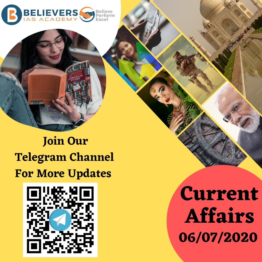 Daily Current Affairs Dated On 06-July-2020 https://believersias.com/daily-current-affairs/ … #followbackalways #follows #followgram #followalways #tagblender #followmefollowyou #following #followstagram #follownow #ifollowback #followus #upsc #ias #currentaffairs #ips #gk #india #generalknowledgepic.twitter.com/2l9xGLT1h8