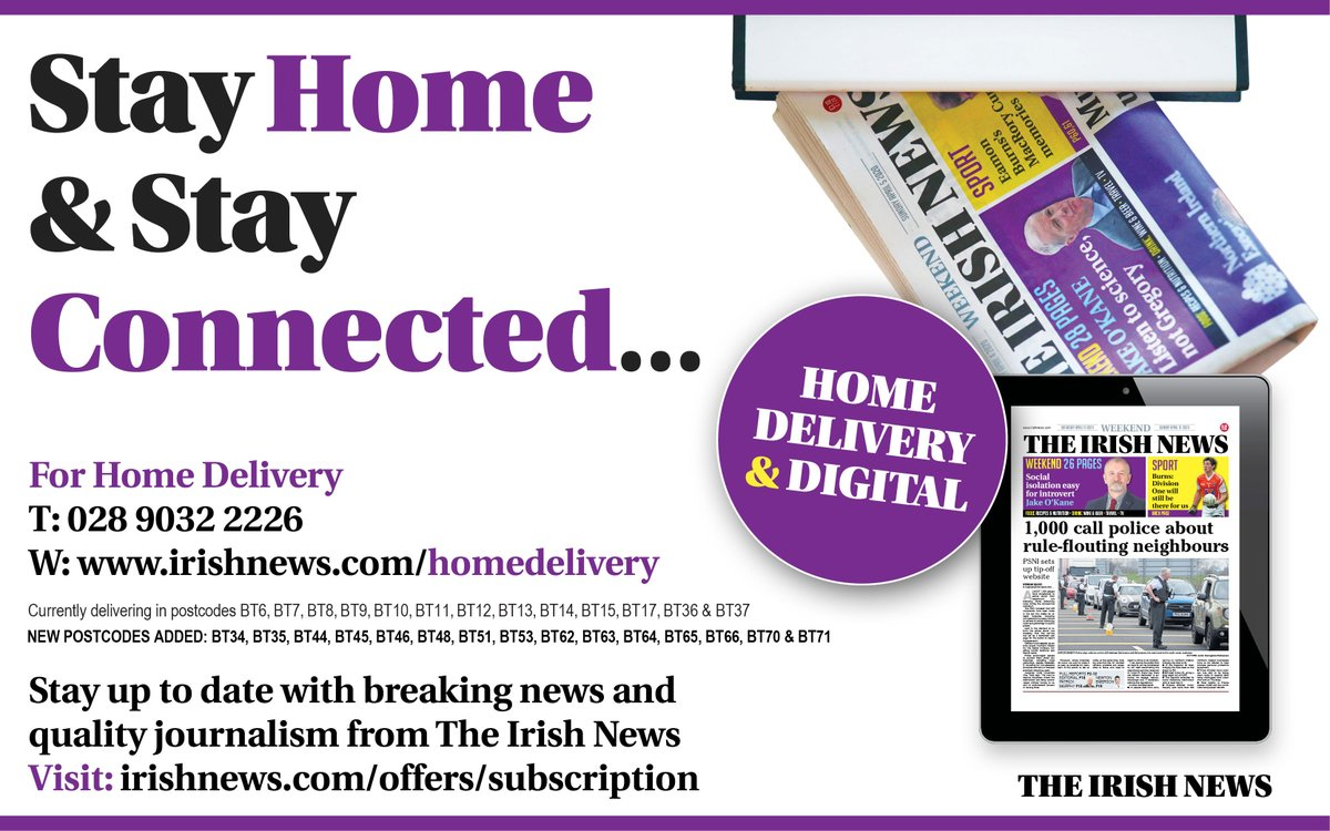 Have you someone in your family that needs the #IrishNews delivered to their front door? 🏠🗞️   For HOME DELIVERY visit ⬇️ https://t.co/pzapvrt8PS  #INThisTogether https://t.co/3oarYFUmtn