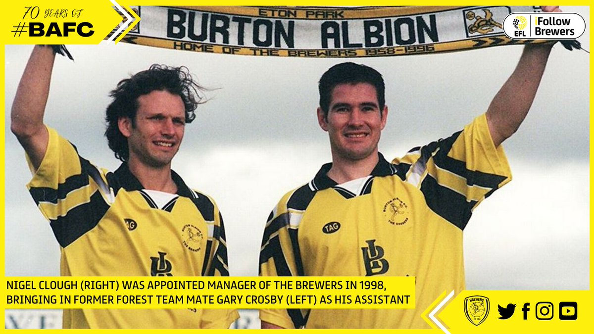 💛🖤Ben Robinson, in his second spell as chairman, appointed Nigel Clough to the managerial hot seat in October 1998. In 2002 Burton Albion won the Unibond League (scoring over 100 goals and conceding just 30), to achieve the goal of Conference football. #BAFC
