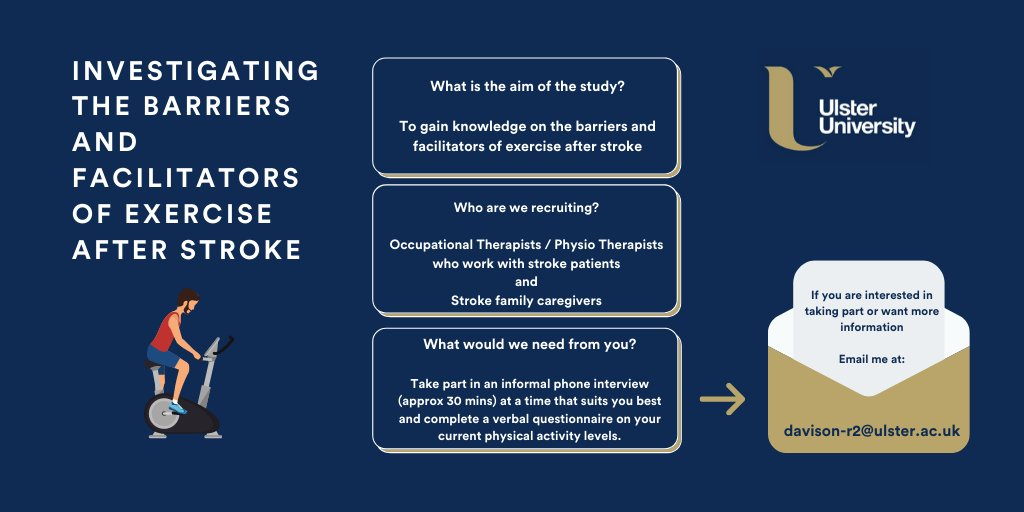Are you a Physio or an OT who works with stroke patients? Or are you a stroke family #caregiver?  We are recruiting for a study investigating the barriers and facilitators of exercise after #stroke    Details are below, DM or email me for more information.   Please RT if possible <br>http://pic.twitter.com/Zn1vQw0Fqv