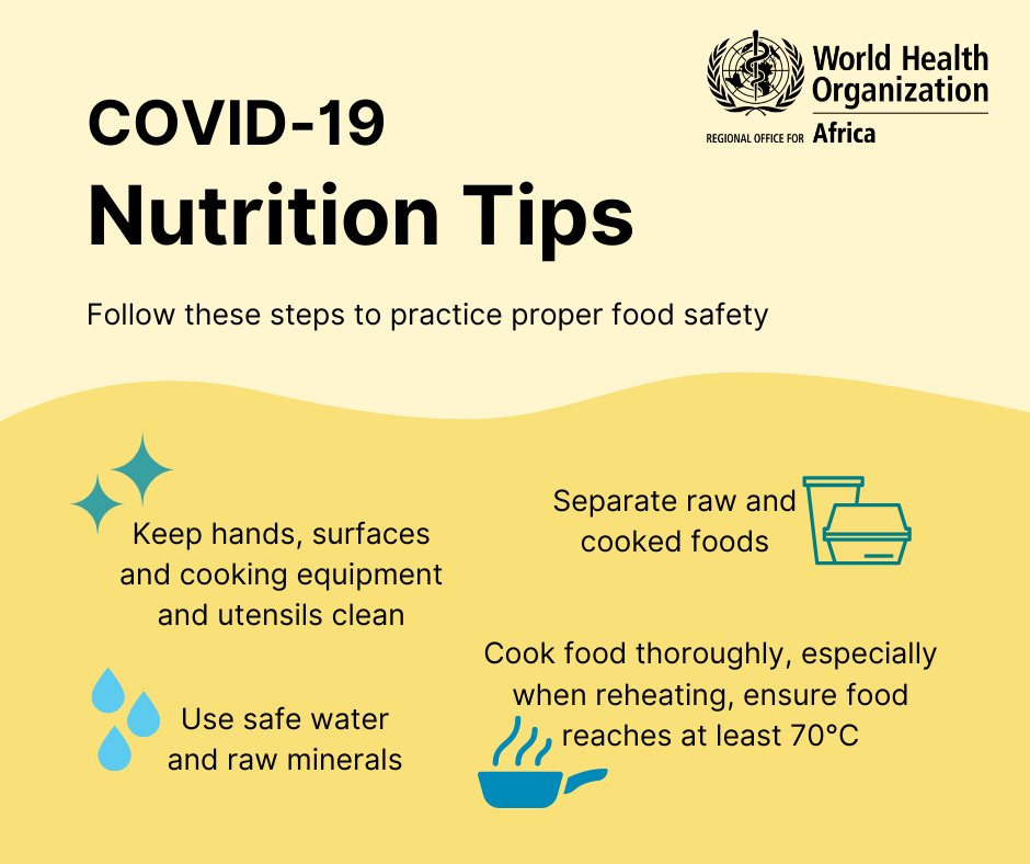 Make sure to practice proper #foodsafety to keep healthy during the #COVID19 pandemic.   It's especially important to maintain a healthy & balanced diet. When you're well nourished, the body is better able to resist or combat infection!💪🏿 https://t.co/iTHwTql8lt