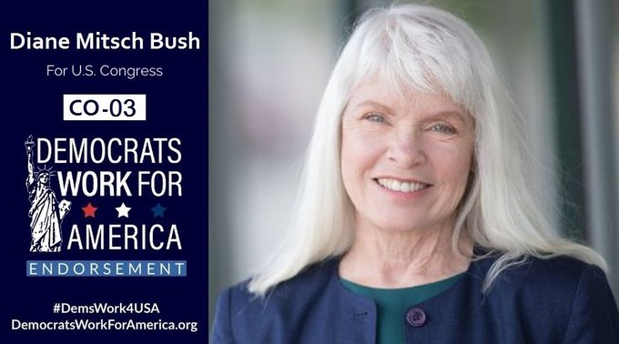 🔁#Colorado CD3 #Election2020-Nov-3.  Support DIANE MITSCH BUSH #CO03,& @DemsWork4USA ➡️https://t.co/M2kTiOKQ4S  RT! #YesWeCan #KeepItBlue #WinBlue #COpol #COpolitics #COleg #MST #Healthcare #Medicare #Medicaid #Farmers #Climate #Ω #Democrats #progressives #liberals #DemsWork4USA https://t.co/TMERyRtFvZ