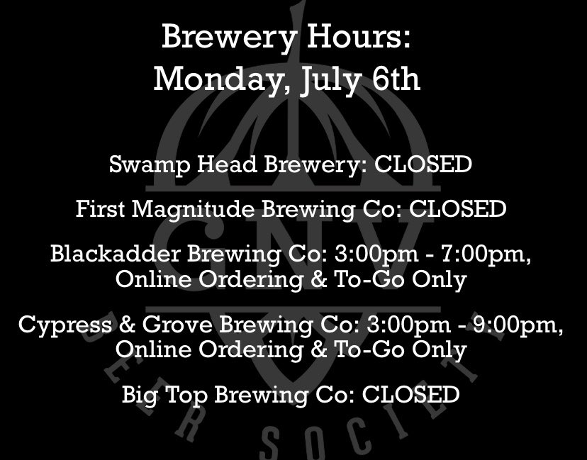 Here are today's hours, both @blackadderbrews and @cypressandgrove will be open at 3pm 🍻