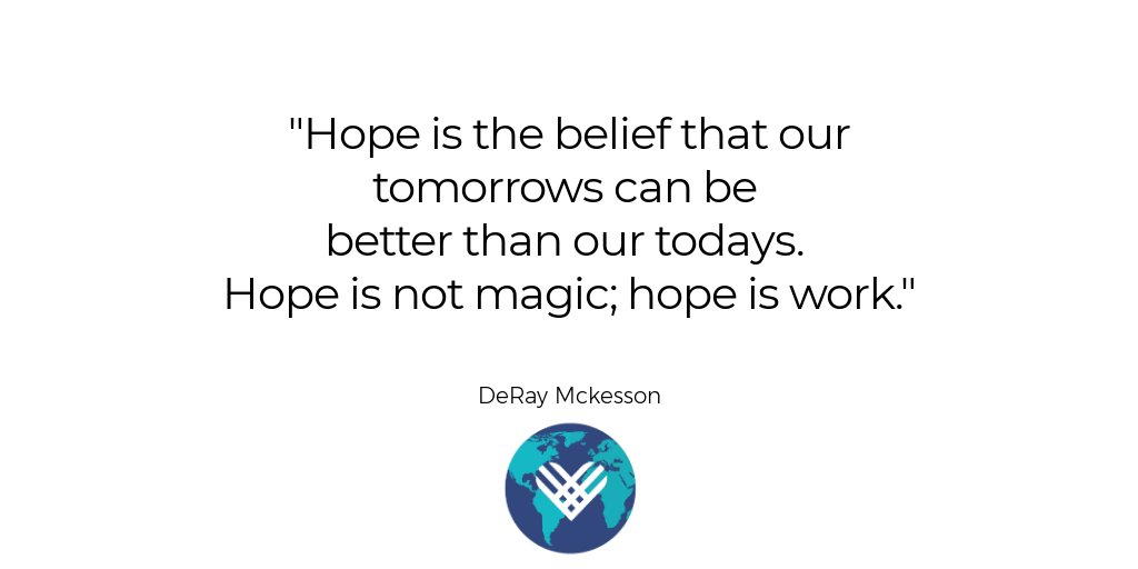 "The world can be a better place, but we have to make it happen.   [Image description: A quote from @deray that says """"Hope is the belief that our tomorrows can be  better than our todays.  Hope is not magic; hope is work.""]  #MondayMotivation<br>http://pic.twitter.com/drFl7tCiRa"