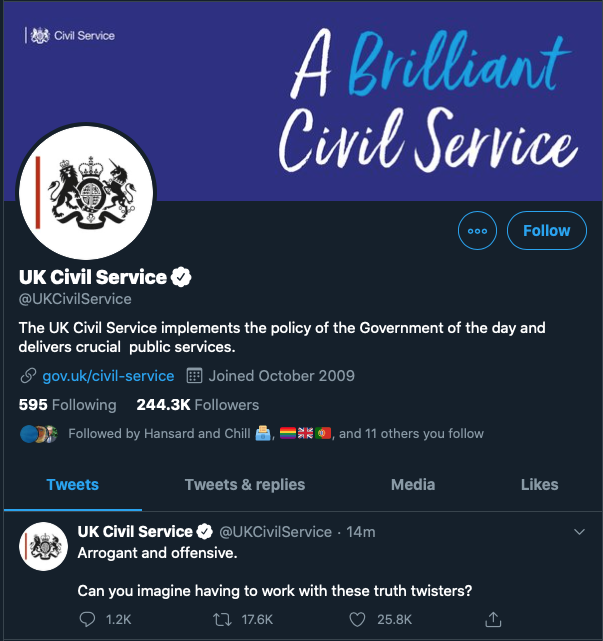 @UKCivilService What were the results of your investigation into this tweet made on 24 May 2020 ? #civilservices pic.twitter.com/eMiy53TtTe
