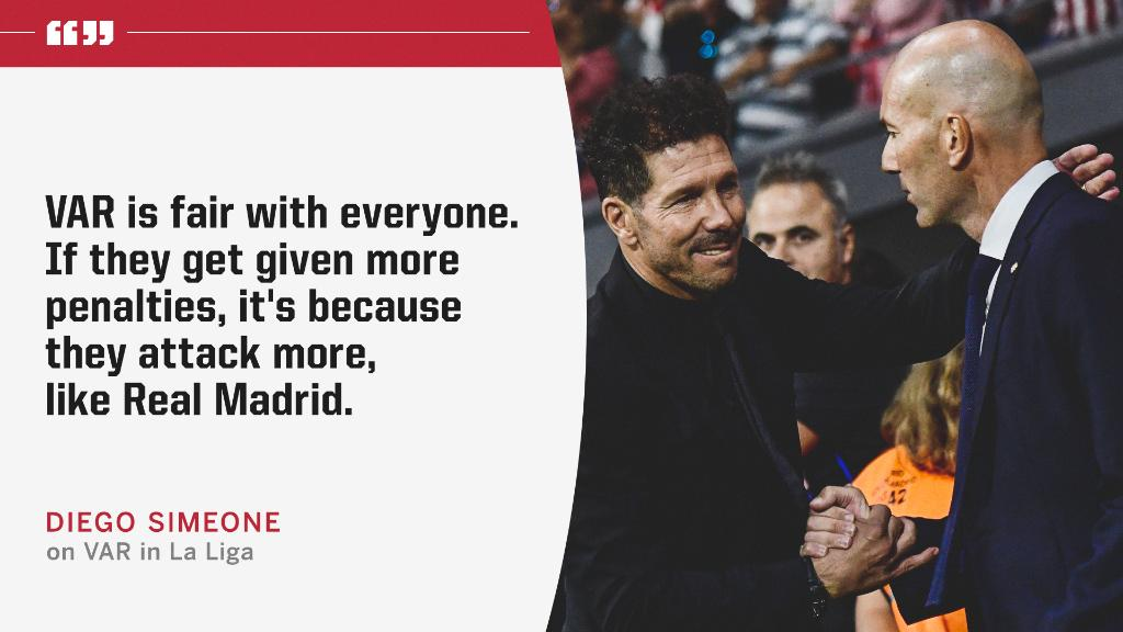 Diego Simeone says VAR gives Real Madrid more penalties because they attack more.