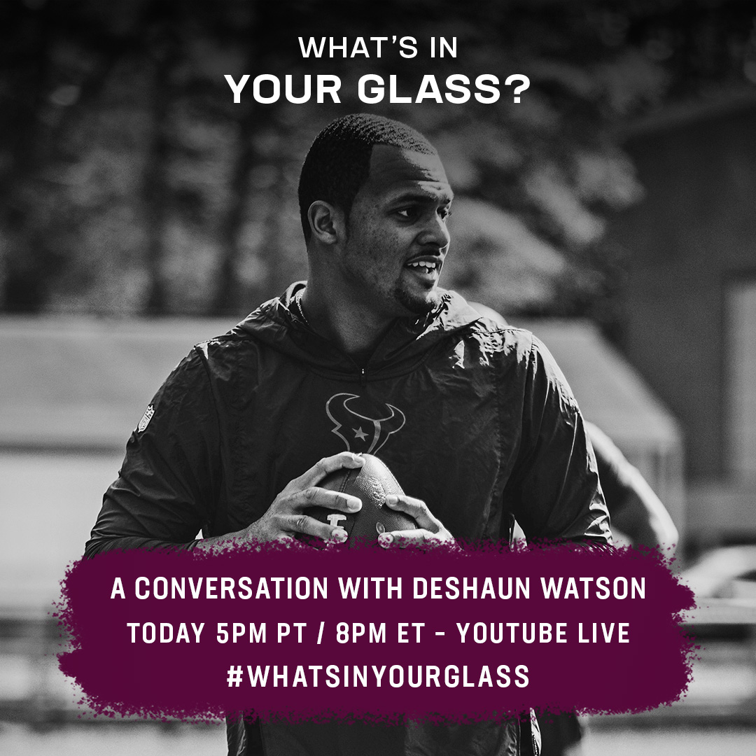 Joining me on todays Whats In Your Glass is NFL Quarterback @deshaunwatson. 5pm PT/8pm ET on YouTube Live. bit.ly/MeloDeshaun #WhatsInYourGlass
