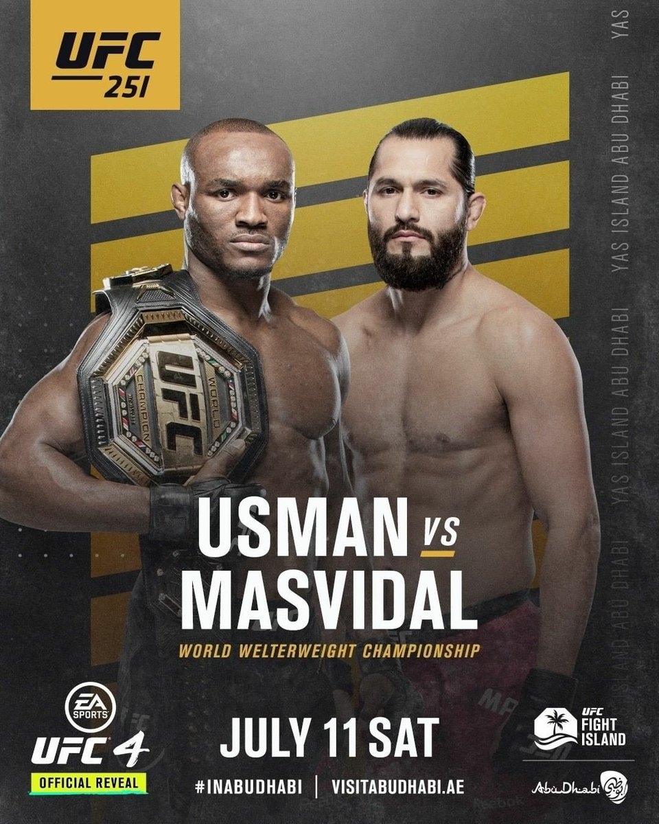 Doesn't matter who is the opponent, whether is one of the best welterweight of the world or the BMF Champ 🏆, the result is going to be the same because the undisputed Champ, the Nigeria nightmare is going to take care of business July 11th. #MybrotherFromAnotherMother #ufc251 https://t.co/SBYkuZ4u5L