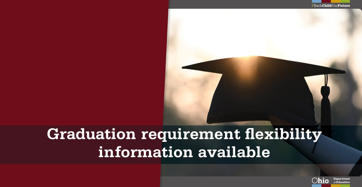 We posted information to address how disruptions to Ohio's State Tests in the spring of 2020 will continue to impact graduation eligibility for high school students.   Read more about graduation flexibility in 2021 and beyond:  http:// education.ohio.gov/Topics/Student -Supports/Coronavirus/Graduation-Flexibility-%E2%80%93-2021-and-Beyond  …  #OhioEd <br>http://pic.twitter.com/V7RoZ0Ci42