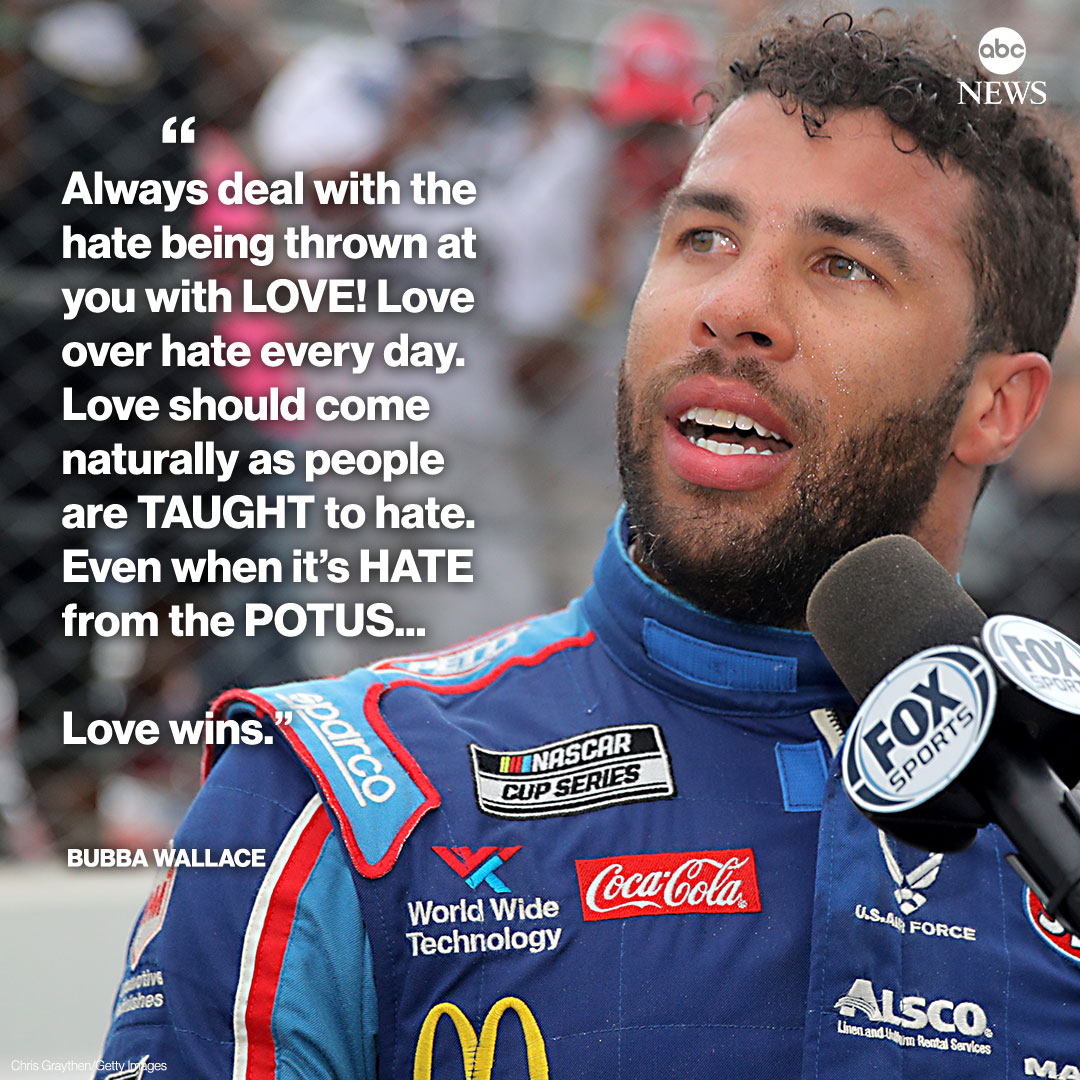 """JUST IN: Bubba Wallace, NASCAR's only full-time Black driver, responds to critical tweet from Pres. Trump.  """"Love over hate every day...Even when it's HATE from the POTUS."""" https://t.co/1jG3rmUT4w https://t.co/MyOoIR3dKt"""