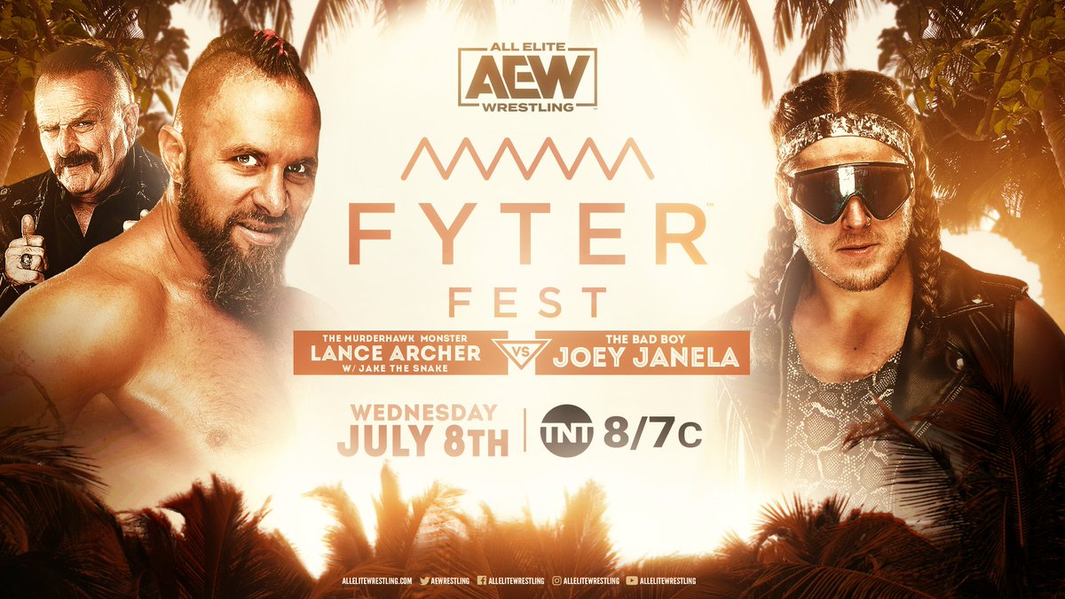 The #MurderhawkMonster @LanceHoyt says everybody dies. But, @JANELABABY isnt afraid of death! Watch Archer vs. Janela this Wednesday at #FyterFest! Watch night two of #FyterFest for FREE on Wednesday, July 8th, at 8e7c on @TNTDrama. #AEWonTNT #AEWDynamite