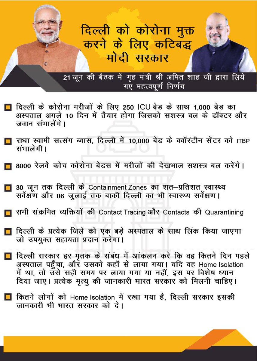 दिल्ली में कोरोना मरीजों की संख्या में बड़ी गिरावट, संक्रमण दर 30 से घटकर 10% हुई : NBT  जब @ArvindKejriwal सरकार कोरोना रोकने फैल/पंगु हो गयी।  ऐसे विकट समय पर देश के गृहमंत्री श्री @AmitShah जी ने स्थिति को संभाला।  गृहमंत्री जी को दिल्लीवालों की तरफ से बहुत धन्यवाद। 🙏 https://t.co/ldPYB1AI69