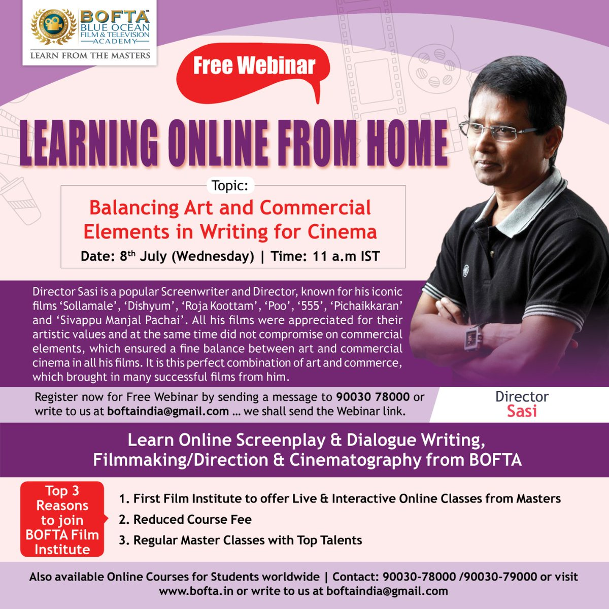 @BOFTAindia s next webinar by Director Sasi on Wednesday at 11 am. Do register if interested to attend 👍💪👍