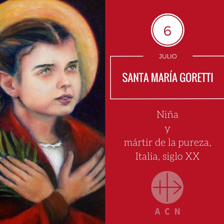 #FelizLunes Hoy celebramos a Santa María Goretti, adolescente que murió asesinada por defender su virginidad. Intercede por los niños y jóvenes, para que no se apague su deseo de seguir a Jesús. pic.twitter.com/KmksLKAem7