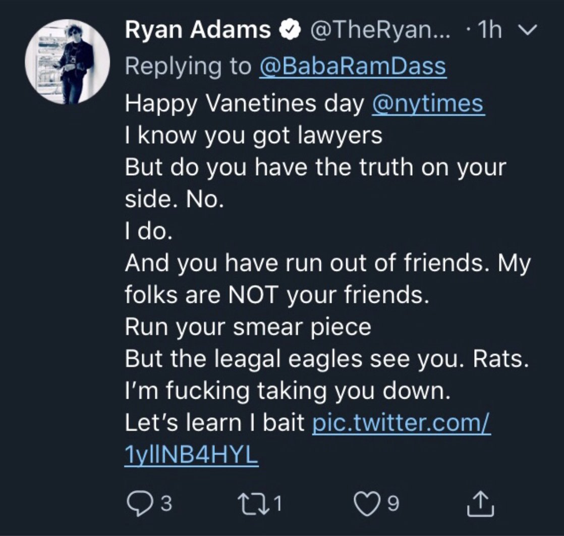 it's been a real journey since Feb 2019 for Ryan Adams (https://t.co/OuGkTDzyNQ), who most recently vaguely apologized via a byline on the Daily Mail website on the Friday evening before 4th of July… https://t.co/7MpRxif5Bf
