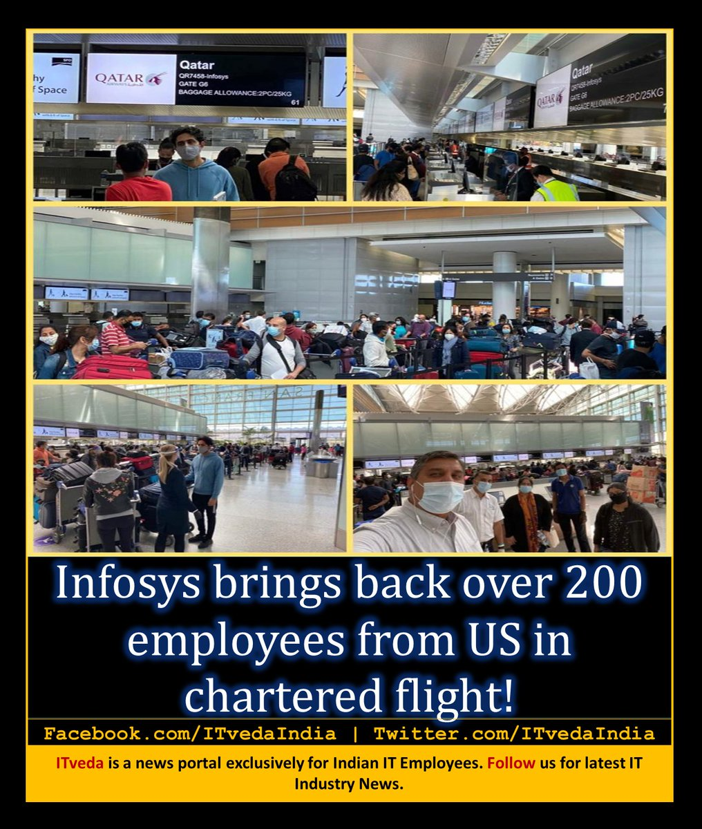 #Infosys brings back over 200 employees from #US in chartered flight!  #Like our page for latest IT Industry News. pic.twitter.com/VtauZQWojH