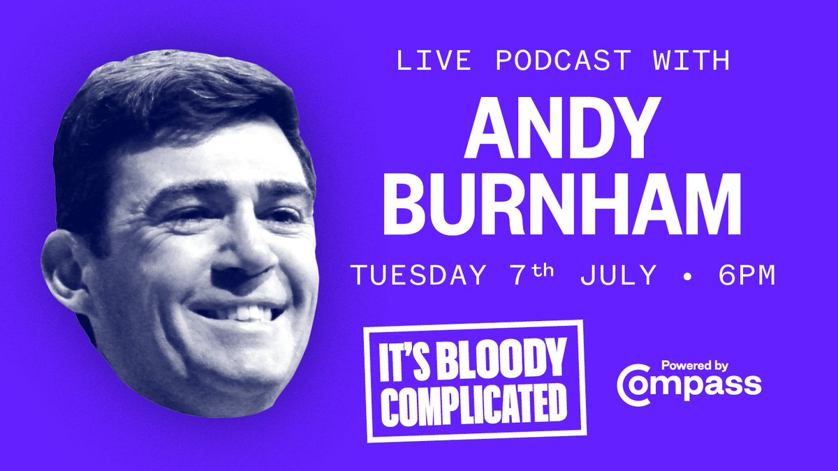 Tomorrow on our live 🎧 podcast #ItsBloodyComplicated well be talking to @AndyBurnhamGM about how we reverse the widening inequality between North/South, what are the big ideas we need to #BuildBackBetter, and much more. Join Compass to participate: ow.ly/68YT50AqhTH
