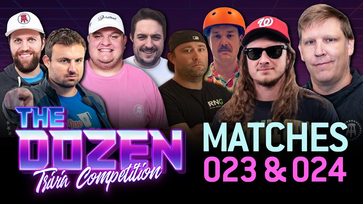 Huge rematches on 'The Dozen: Trivia Competition' this week.  We have the return of @SmittyBarstool (Tuesday) and @barstoolWSD (Thursday) to take on @PFTCommenter & @BWalkerSEC. Could get heated!  All episodes: https://t.co/2QB0hr8fPN https://t.co/jQ6xXqkwDK