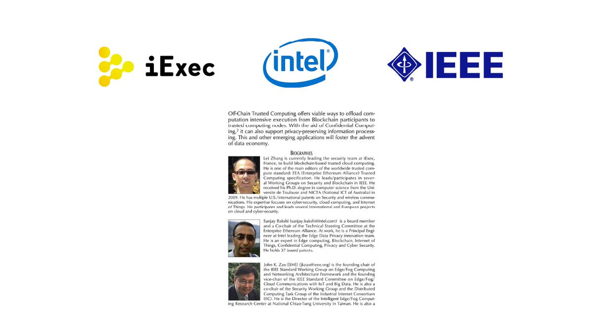 Co-written by iExec, @Intel and @IEEEorg: a paper on Confidential Computing or Off-chain trusted compute. What is confidential or trusted computing? Why is it important in blockchain? What is iExec working on with Intel and @EntEthAlliance? ⬇️ ieeexplore.ieee.org/stamp/stamp.js… $RLC