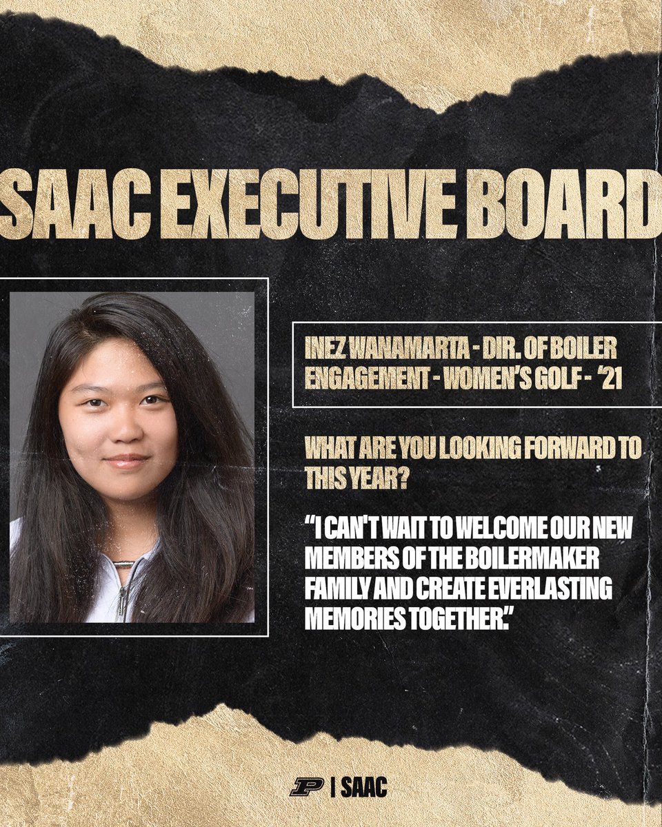 It's Monday and time to meet your (EB) Members! First off, Director of Boiler Engagement - Inez Wanamarta! Inez is a senior on the Women's Golf Team⛳️   We are excited to see the work Inez will do, connecting student-athletes within the community! #BoilerUp https://t.co/XOTAeofAOs
