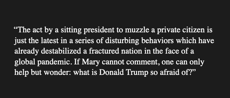 Mary Trump's spokesperson, Chris Bastardi, just released this short statement.