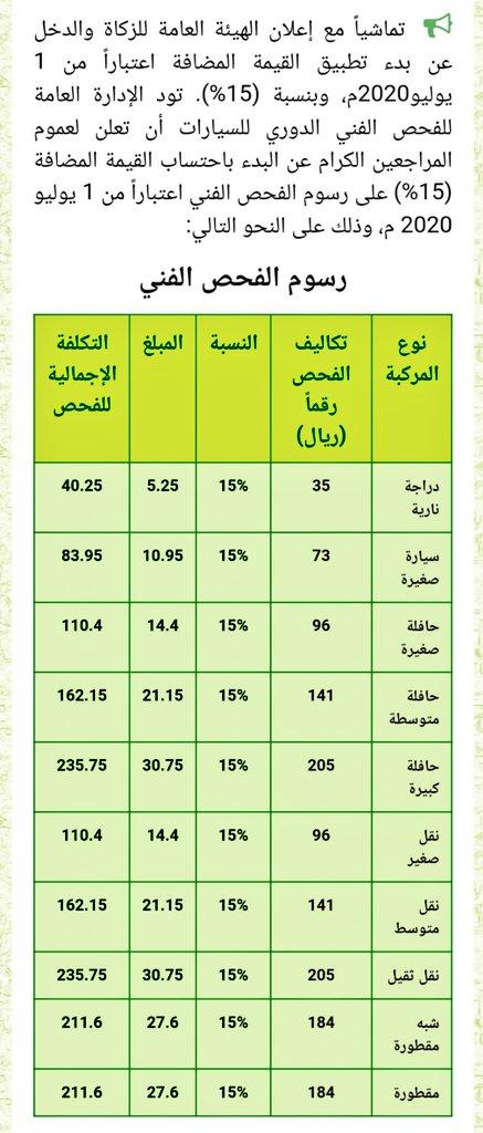 كل شي عن الرياض On Twitter تعديل أسعار الفحص الدوري بعد تطبيق الضريبة 15 لتصبح على النحو التالي