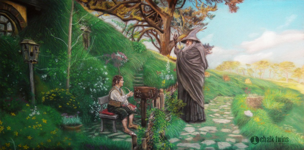 """""""Even the smallest person can change the course of the future.""""  Buy a print!  http://chalktwins.com/wp1/buy-now/  #chalkart #chalktwins #lordoftherings #lotr #hobbit #hobbiton #hobbithole #bilbo #bilbobaggins #frodo #frodobaggins #gandalf #muralart #quarantinelife #blm #changelivespic.twitter.com/WZMj17Xjzf"""