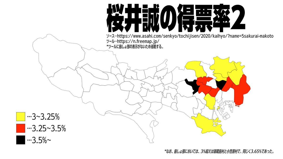 3%超えだけに色づけしてみた。 #桜井誠 #東京都知事選挙 #ヘイト行動情報 https://t.co/29LqDPPm1u