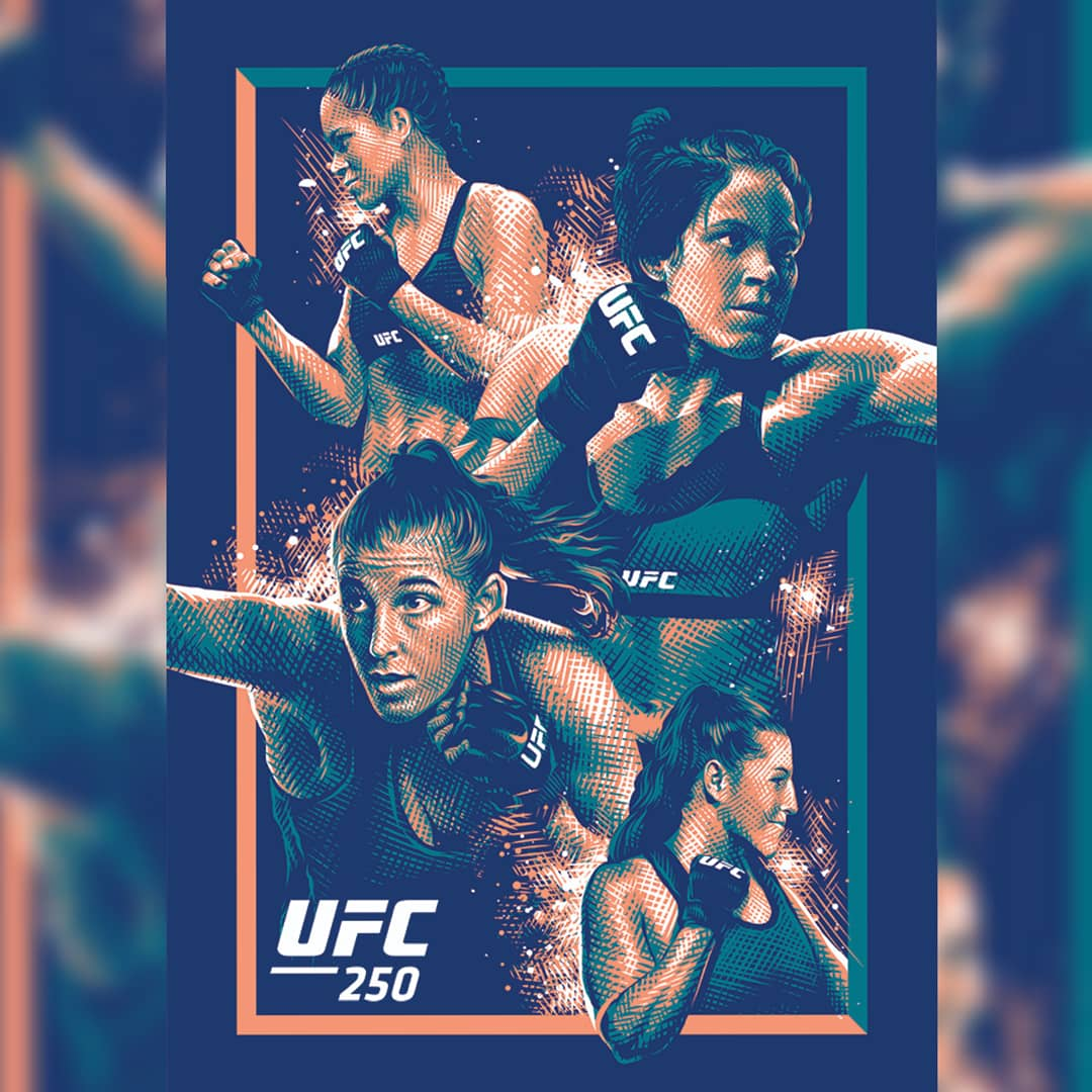 """Official #UFC250 poster commissioned as part of the @UFC Artist Series. Amanda """"The Lioness"""" Nunes (@Amanda_Leoa) successfully defended her featherweight title against Felicia """"Feenom"""" Spencer (@FeeNom479) #ufc #amandanunes #feliciaspencer https://t.co/0Hygy1k4Q5"""