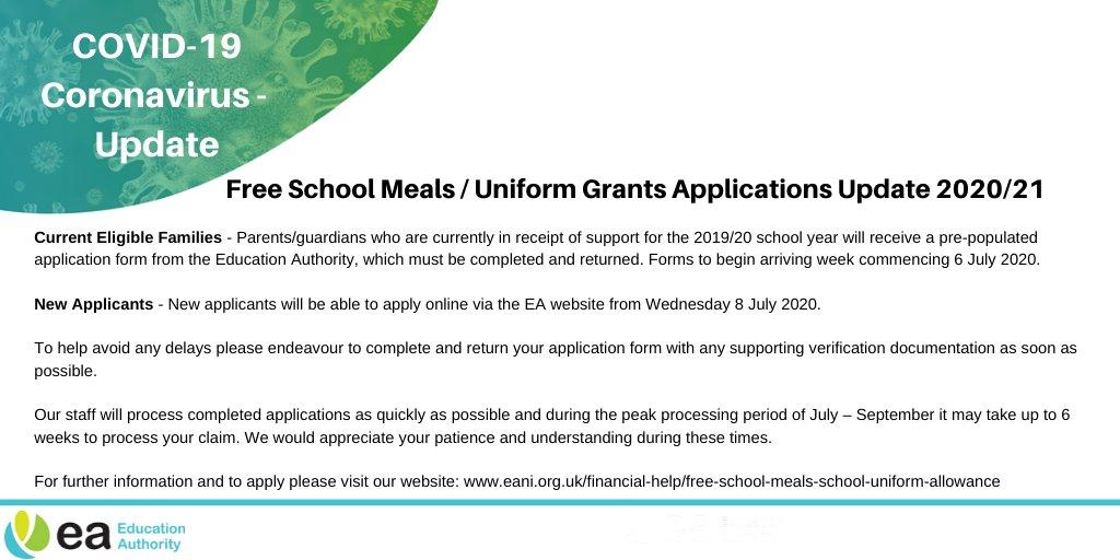 EA update relating to free school meals / uniform grant applications 2020/21.