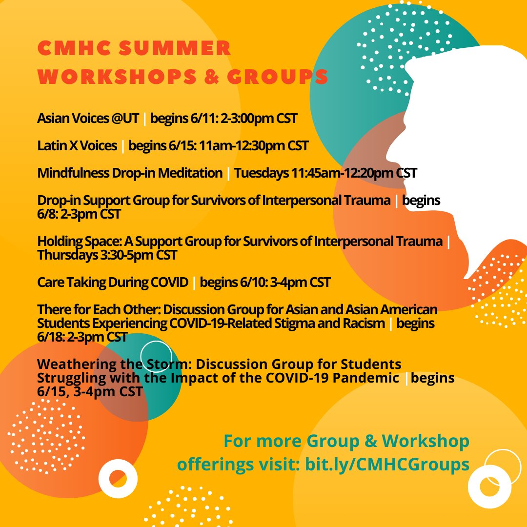 CMHC Summer groups and workshops are being offered virtually via Zoom for students enrolled this summer. Check out https://t.co/eoMQvyBEoB for more information and how to get involved. https://t.co/ffoyP7hRfn