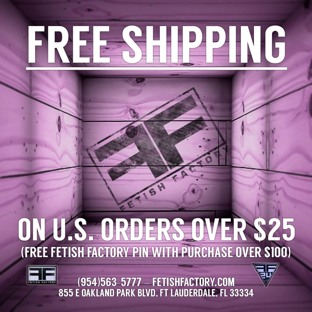 All U.S. orders over $25 get free standard shipping, PLUS a free Fetish Factory commemorative pin for every order over $100! Shop in-store or online at http://STORE.FETISHFACTORY.COM . . . #sale #bdsmcommunity #kink #alternativelifestyle #lgbt #alternativefashion #altlifestylepic.twitter.com/WjnDKVbE1y
