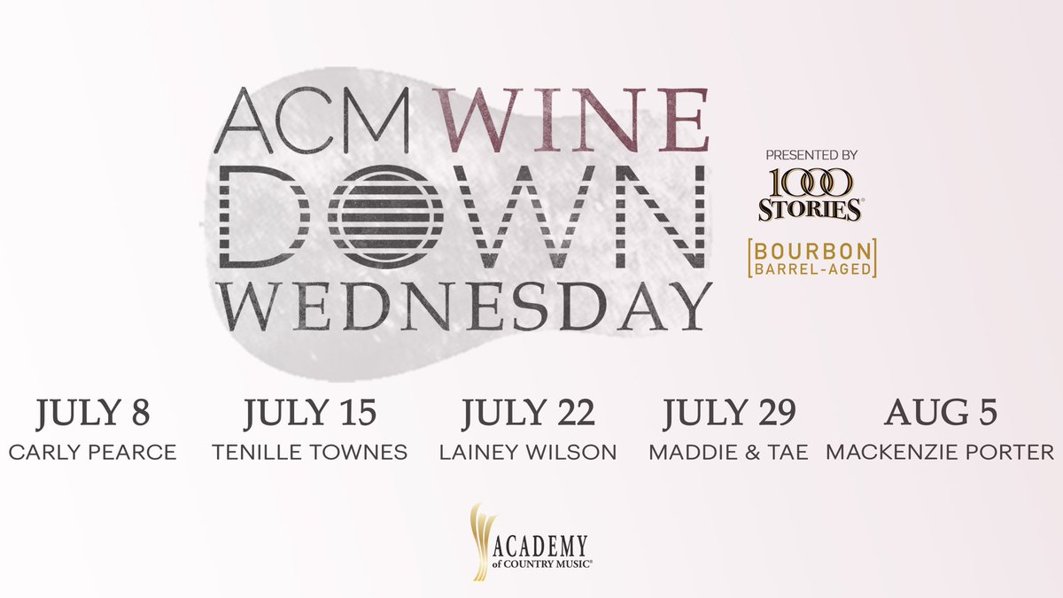 Introducing ACM #WineDownWednesday—a virtual happy hour with some of your favorite ladies of Country Music, brought to you by ACM and 1000 Stories Bourbon Barrel-Aged Wine! The weekly series will kick off THIS WEDNESDAY! Be sure to mark your calendars! https://t.co/ngdNetQ59e