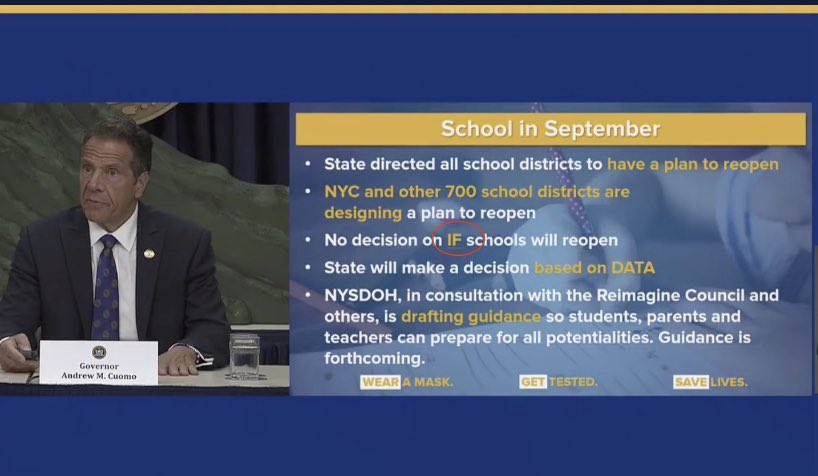Update on schools reopening from ⁦⁦@NYGovCuomo⁩ at today's briefing. ⁦@NYSPHSAA⁩ ⁦@NYSAAA6⁩ https://t.co/s9h7LD6vqa