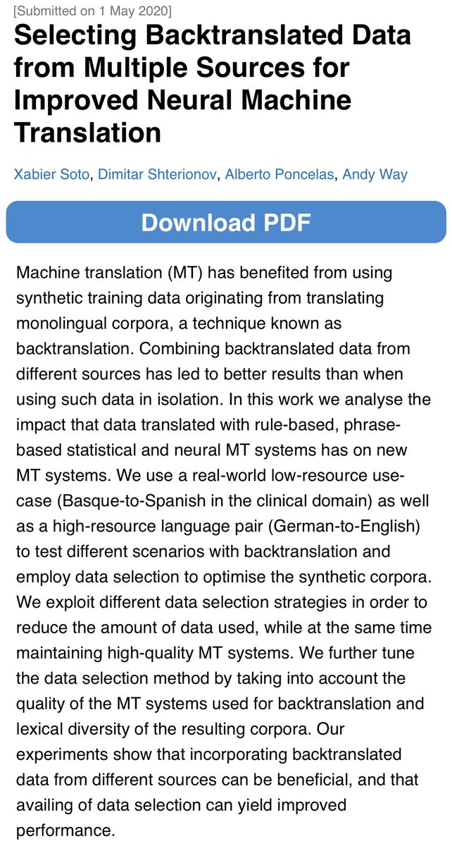 """#acl2020nlp Come and visit the page for our paper """"Selecting Backtranslated Data from Multiple Sources for Improved Neural Machine Translation"""".  You can also join us tomorrow (July 7) in the Q&A Sessions 7A (8:00) and 8B (13:00) [GMT] 👇  https://t.co/cwudYOIvDM https://t.co/Vw3418qb8s"""