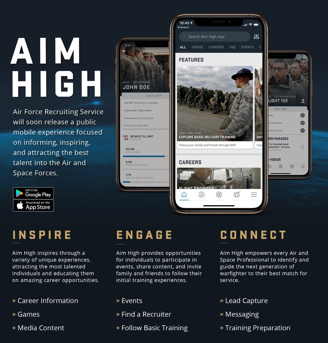 Interested in serving in the United States Air Force? Check out the Aim High App!  #InspireAF #AimHigh #USAF #AirForce #KnowYourMil #FlyFightWin #pilot #aviator #avgeek #aviation #aviationenthusiast #aviationlovers  @usairforce @USAFRecruiting @DeptofDefense @AETCommand https://t.co/LPoEuKHL8C