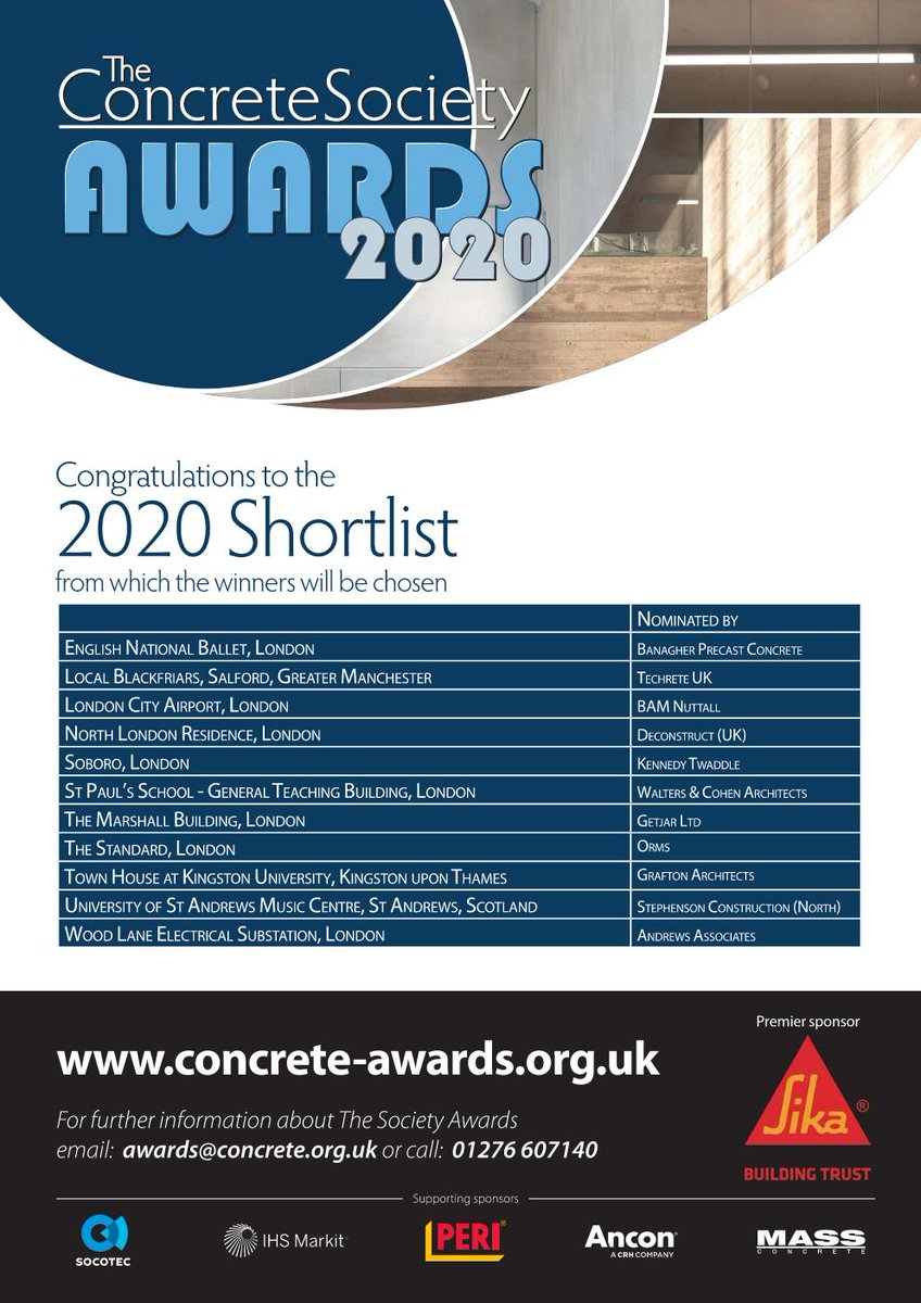 Two projects shortlisted for @ukConcrete Society Awards 2020! English National Ballet by @Glenn_Howells & @ballymore & Town House @ Kingston University by @graftonarchs & @WillmottDixon / @PCE_Hybrid #ConcreteSocietyAwards2020 #ConcreteAwards #Precast #Concrete #ChallengeUs