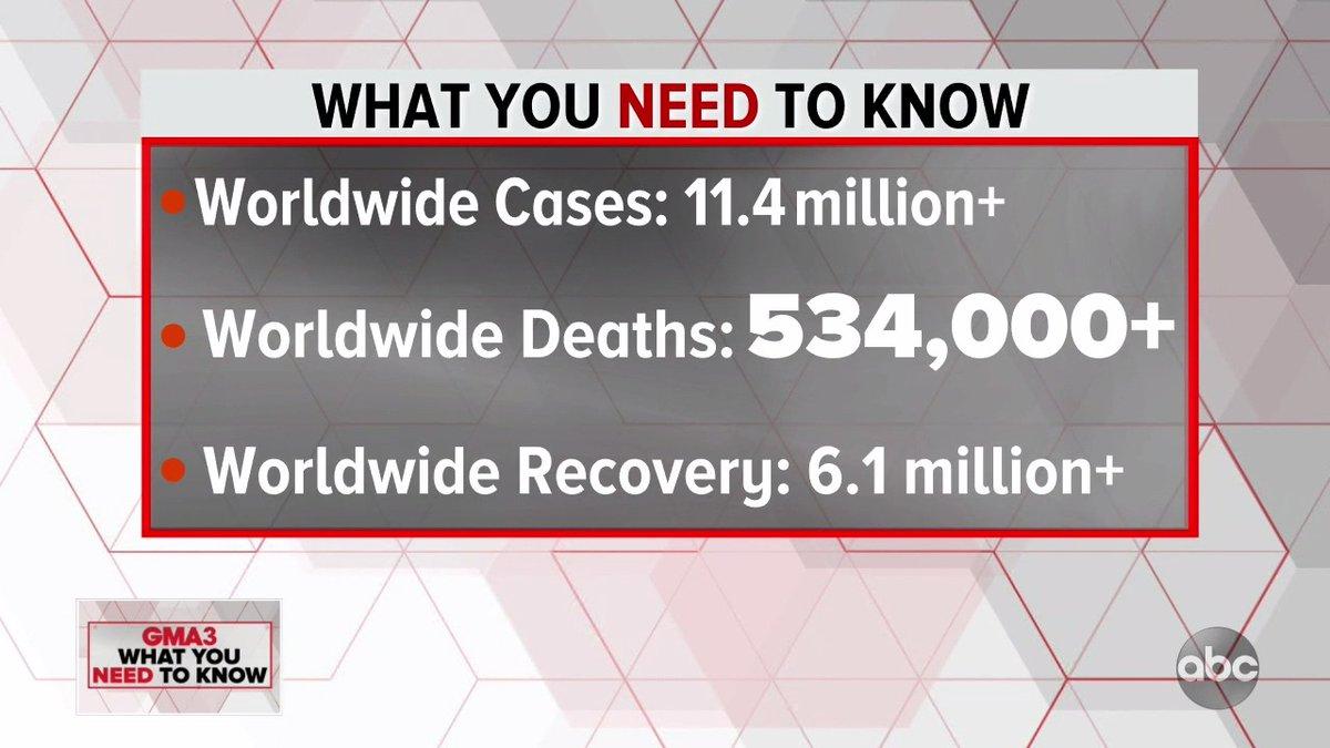 Coronavirus UPDATE: https://t.co/621ZKoFn4g  — Worldwide cases: 11.4 million+ — Worldwide deaths: 534,000+ — Worldwide recovery: 6.1 million+ https://t.co/KHs5ZKiisn