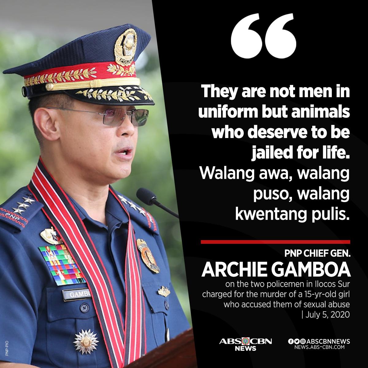 Tahasang kinondena ni PNP chief Archie Gamboa ang dalawang pulis sa Ilocos Sur na suspek sa panggagahasa at karumal-dumal na pagkamatay ng isang 15-anyos na dalagita.  Sinampahan na rin ng kasong murder ng PNP ang dalawang suspek na pulis. https://t.co/f5dehN4wPQ https://t.co/bDdbLATAKW