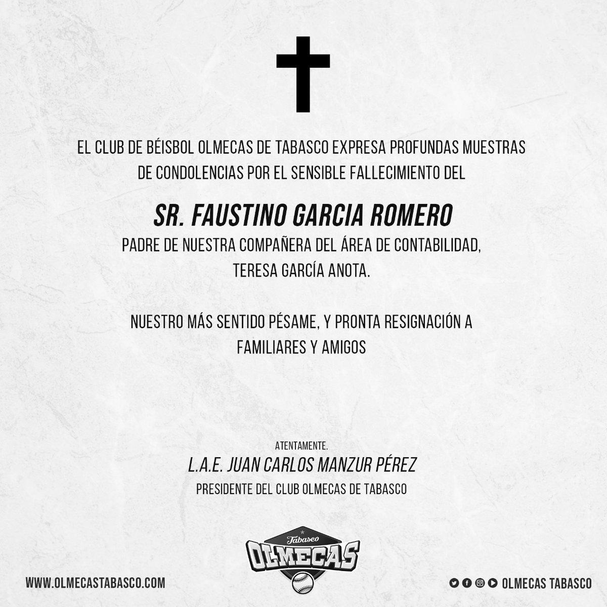 El Club Olmecas de Tabasco, lamenta el sensible fallecimiento del Sr. Faustino García Romero, padre de Teresa García Anota, compañera del área de contabilidad.  Le deseamos pronta resignación a sus familiares y amigos. https://t.co/kszbwM52Me