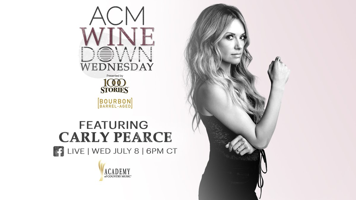 You can find @CarlyPearce LIVE THIS WEDNESDAY on the @ACM Facebook page! ACM has partnered with 1000 Stories Wine for #WineDownWednesday, a virtual happy hour with today's top country ladies. Direct message the Academy ahead of time with your questions for Carly! https://t.co/uiq6HQBTFV