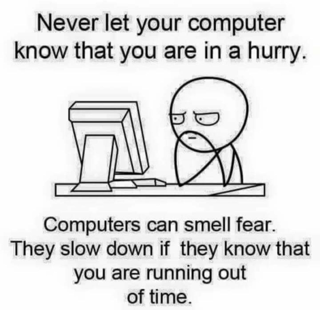 From next time never let your computer know that you are in hurry.!! . #tech #techmemes #techfun #funnytech #itsucks #technologyfunpic.twitter.com/5SbzCrve8e