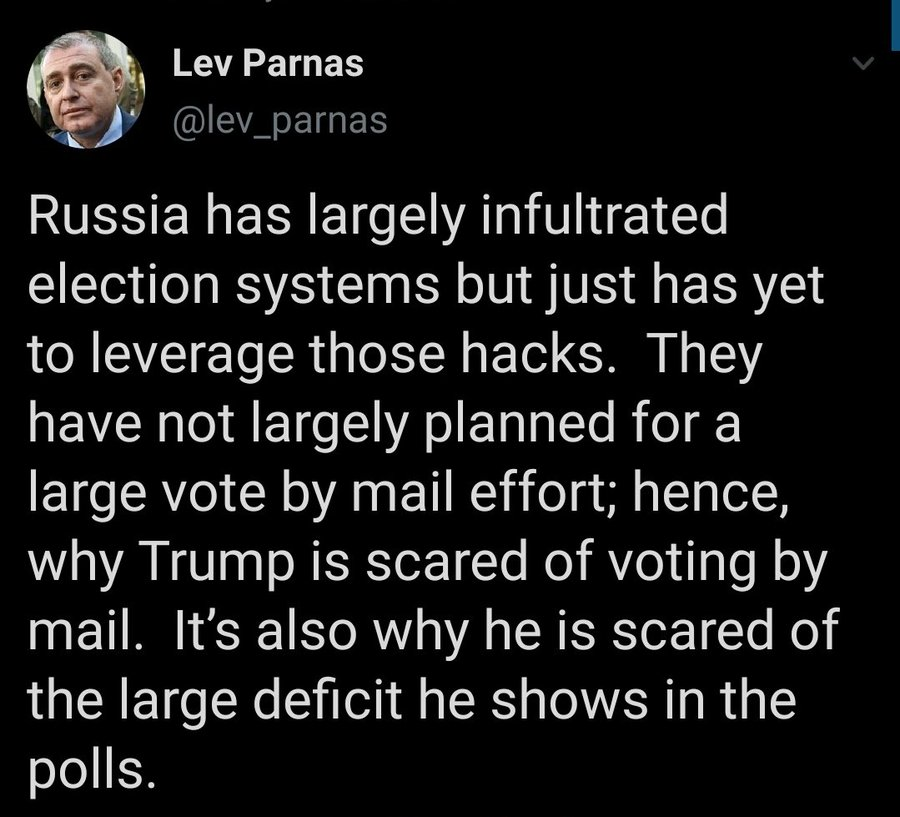 @DuncanHarkis consider this tweet by lev Parnas...    it could be why Trump is so scared of vote by mail https://t.co/cbu5GnB4Ww