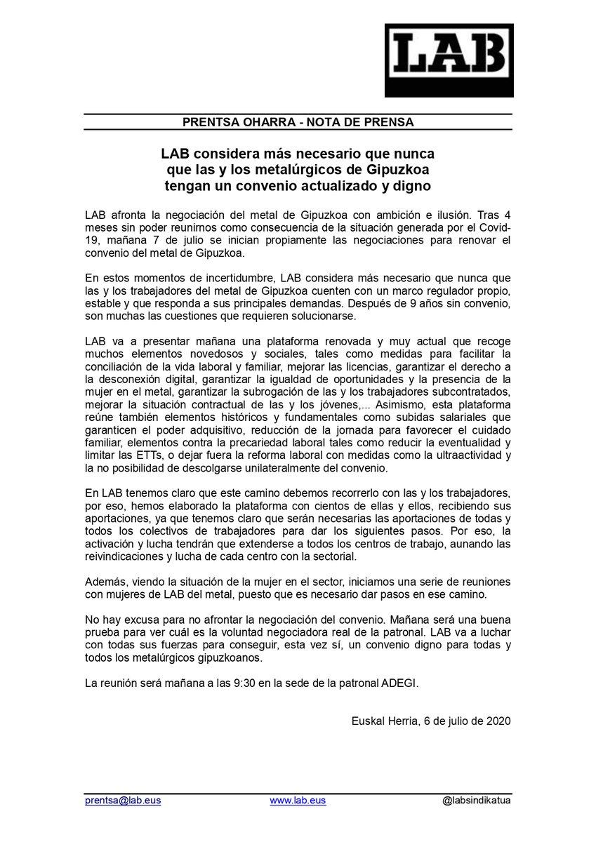 Consideramos más necesario que nunca que las y los metalúrgicos de Gipuzkoa tengan un convenio actualizado y digno #KapitalakOrdainDezala  Mañana, 7 de julio, se inician propiamente las negociaciones para renovar el convenio del metal de Gipuzkoa https://t.co/LJjFWz5HUG https://t.co/xfCOF7qqNj
