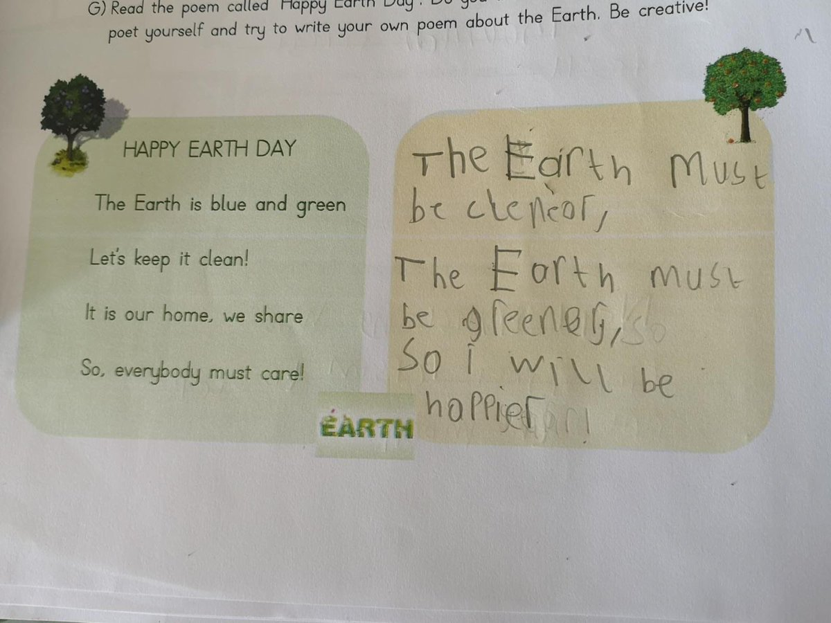 Berk's own poem about the Earth. 🌎 he is creative 👨‍🎨 https://t.co/0Ga0B1VO45