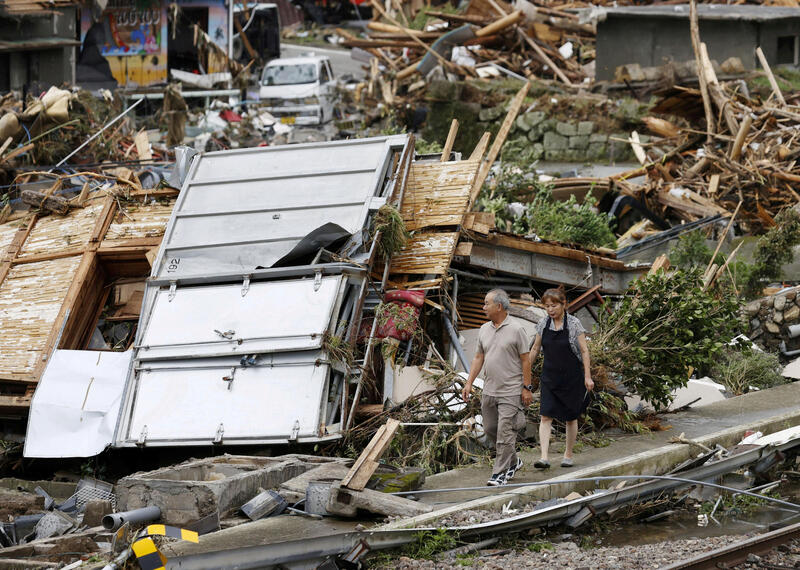 Torrential rain hit Japan's southwestern island of Kyushu today, with at least one more river bursting its banks, as the death toll from three days of floods and mudslides rose to 44, including 14 at an old people's home. More photos: https://t.co/OZfrHmn9Or https://t.co/nRl0okeey6