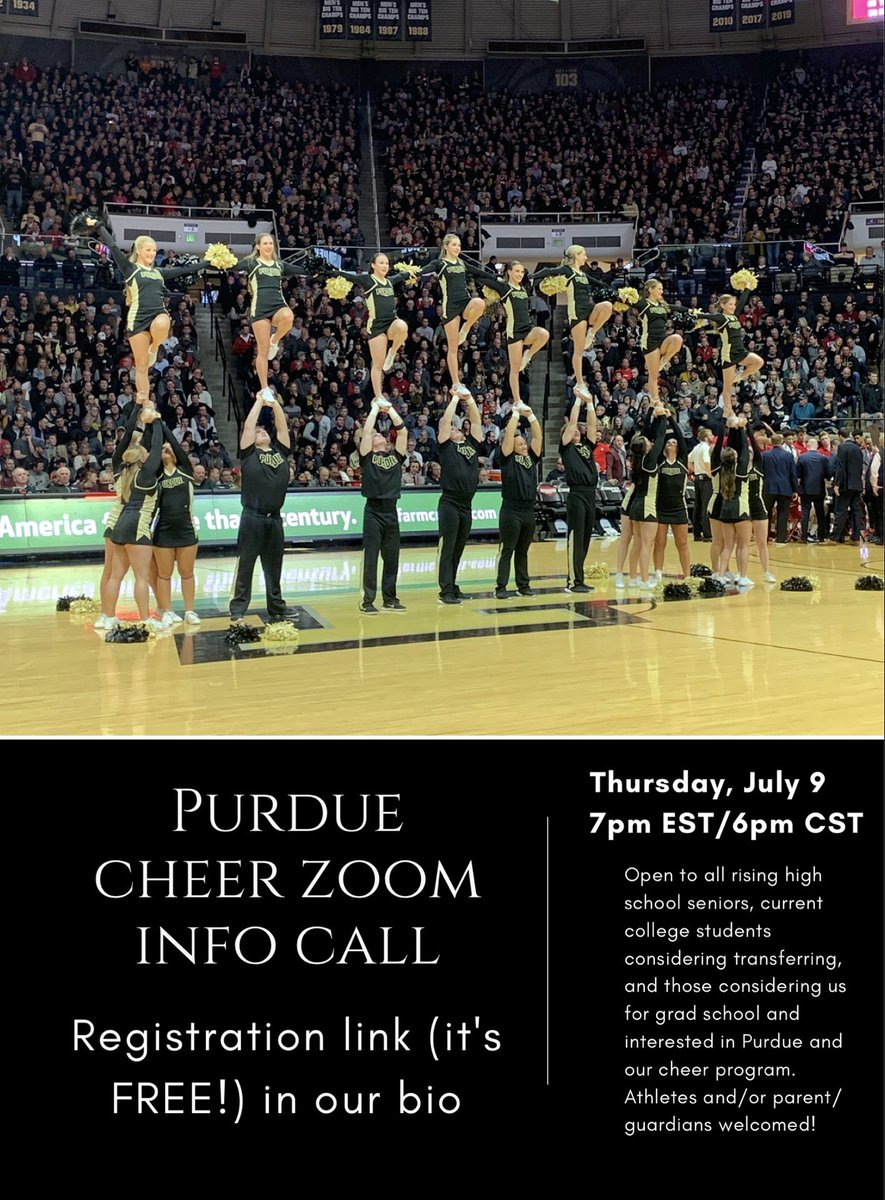 Attention rising seniors, current college students considering transferring, & those considering us for grad school and interested in Purdue and our cheer program. Zoom call w/ coach Steve & James Crawley from @PurdueAdmission! To register to go: https://t.co/kGx0vfPEdy #BoilerUp https://t.co/QNajaRP66L